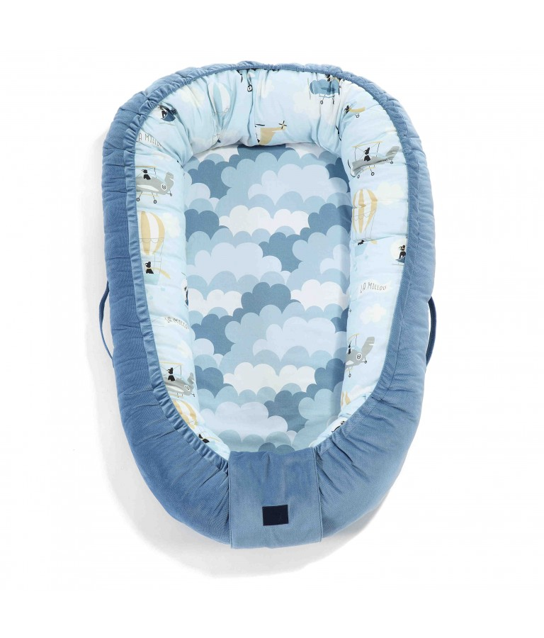 Image of   La Millou Babynest Velvet Collection Captain Adventure - Denim
